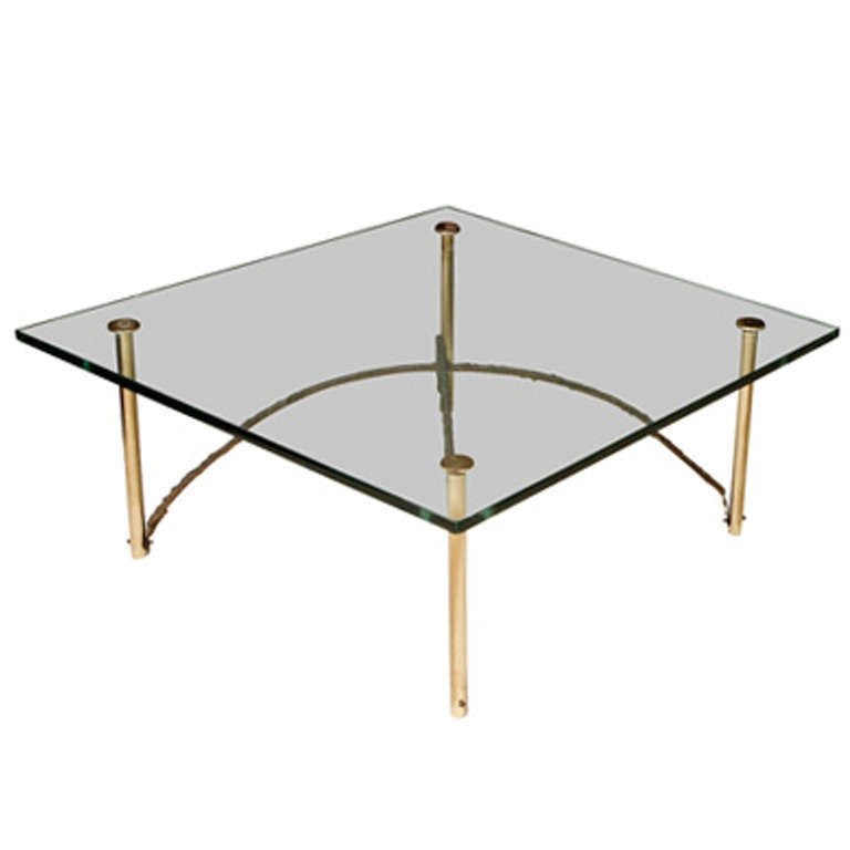 Brass Bronze And Glass Sculptural Coffee Table At 1stdibs