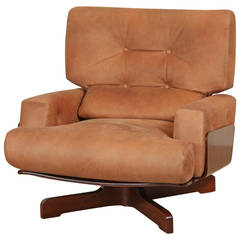 Molded Rosewood and Leather Swivel Chair by M. Taro for Cinova