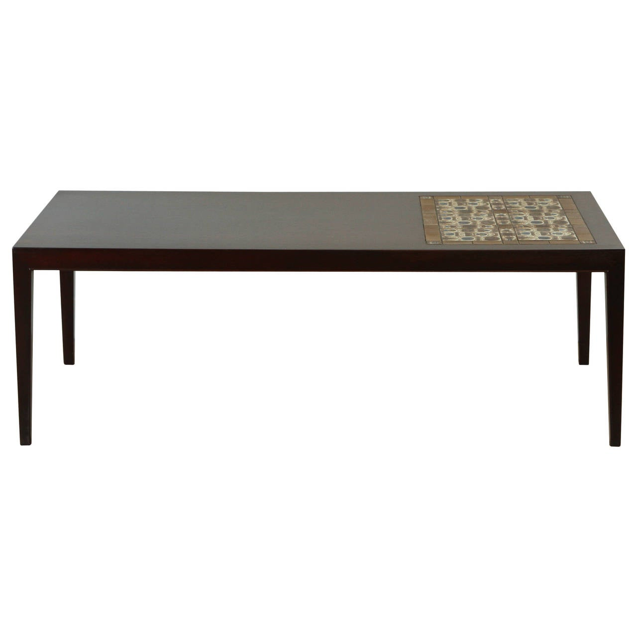 danish rosewood and mosaic tile top coffee table by