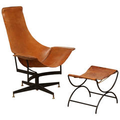 Leather Swivel Chair and Ottoman by Max Gottschalk