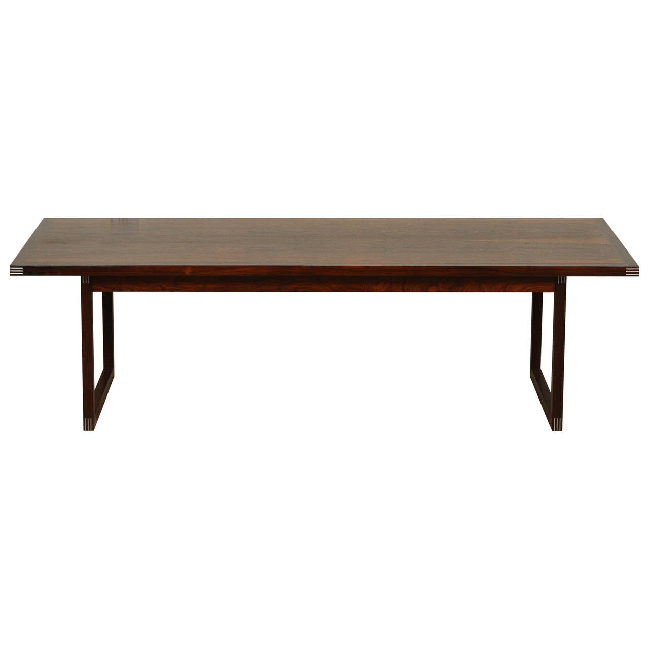 Rosewood Coffee Table With Inlaid Metal Corners By