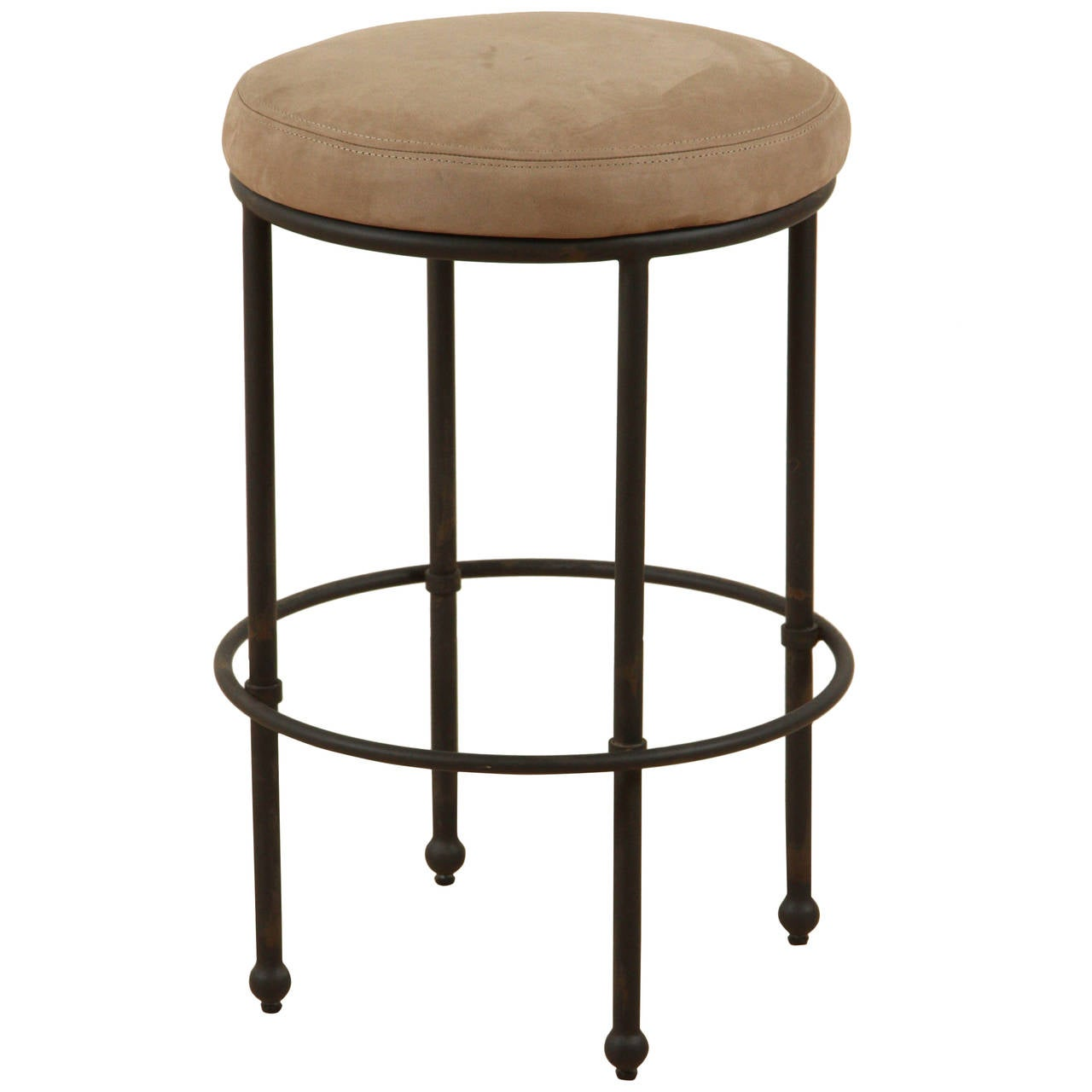 Orsini Counterstool in Nubuck and Blackned Steel by Lawson-Fenning For Sale