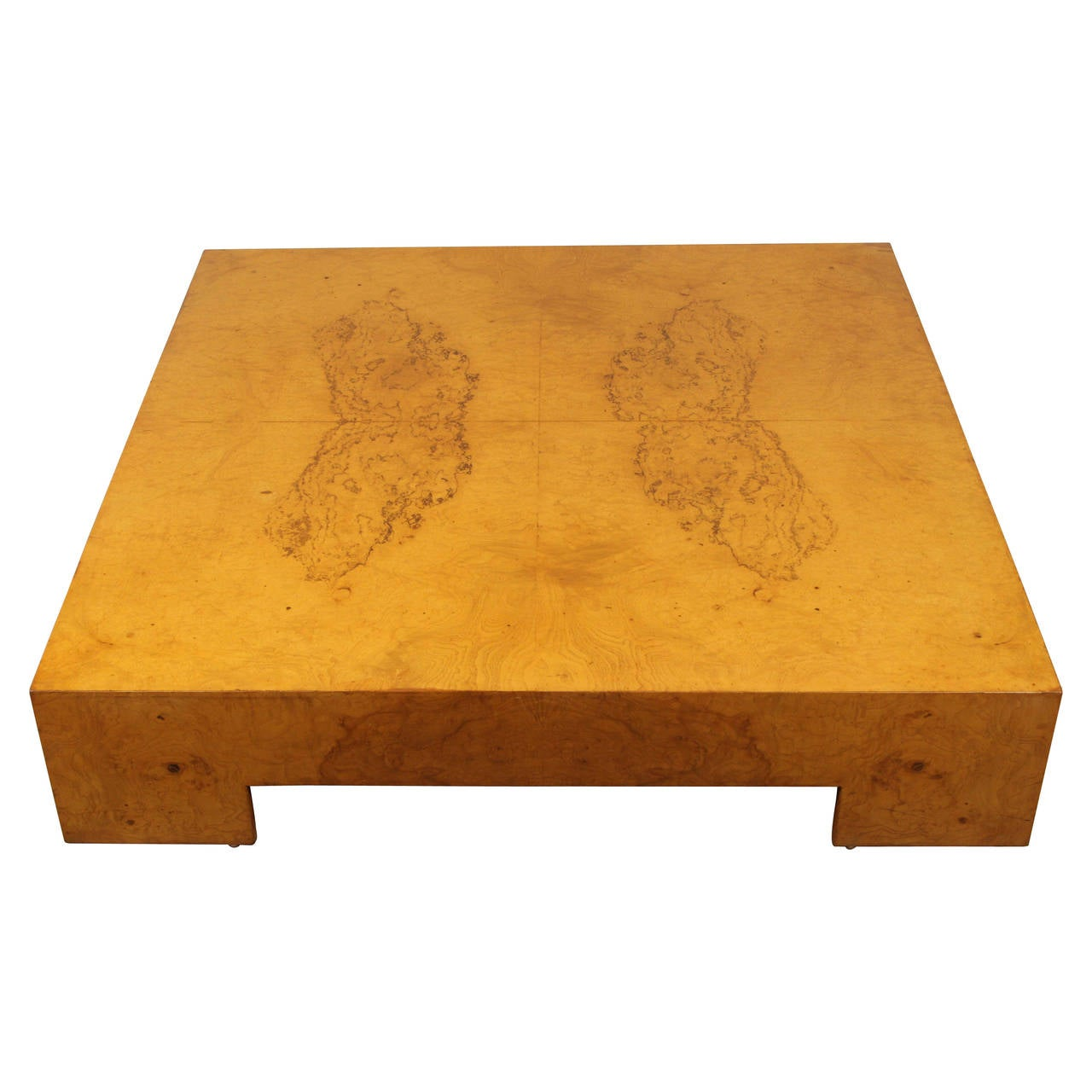 Low square burl wood coffee table by milo baughman at 1stdibs for Low coffee table wood