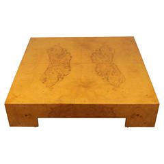 Low Square Burl Wood Coffee Table by Milo Baughman