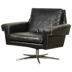 Danish Midcentury Leather Swivel Chair