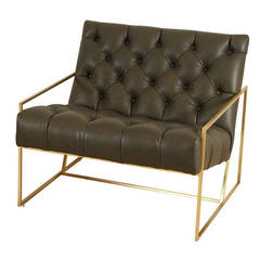 Thin Frame Lounge Chair in Tufted Green Leather by Lawson-Fenning