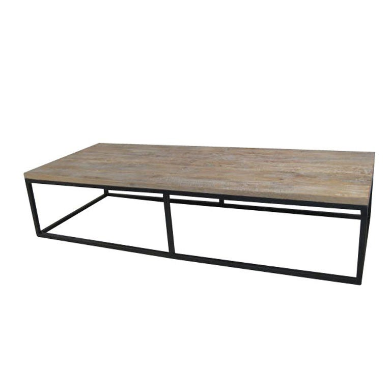 Large Spanish Poplar Wood And Iron Coffee Table At 1stdibs