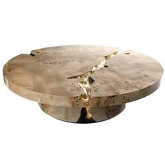 European Modern Wood and Brass Empire Center Coffee Table by Boca do Lobo