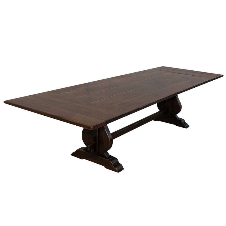 Expandable dining table in vintage walnut at 1stdibs for Expandable dining table