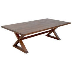 Minimalist X-Trestle Table in Black Walnut with Extensions