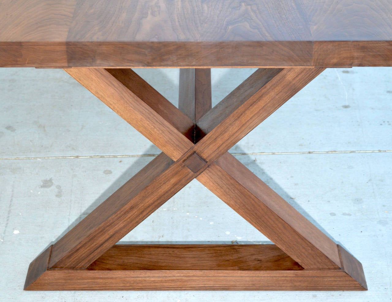 Minimalist Table Minimalist X Trestle Table In Black Walnut With Extensions Built
