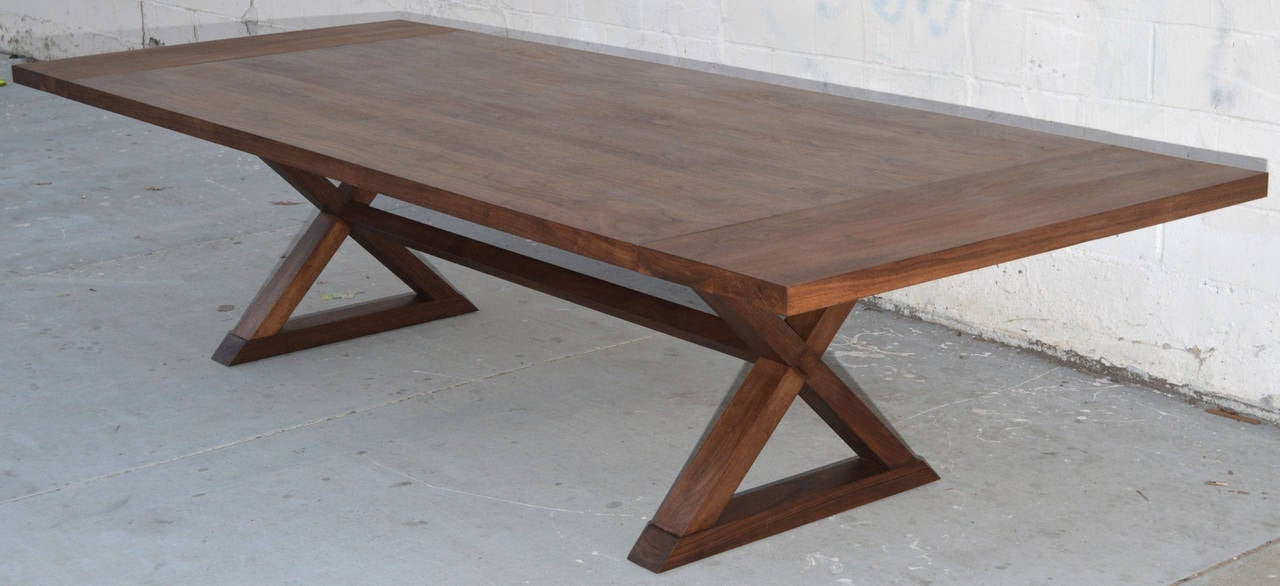 Minimalist X Trestle Table In Black Walnut, Built To Order By Petersen  Antiques For