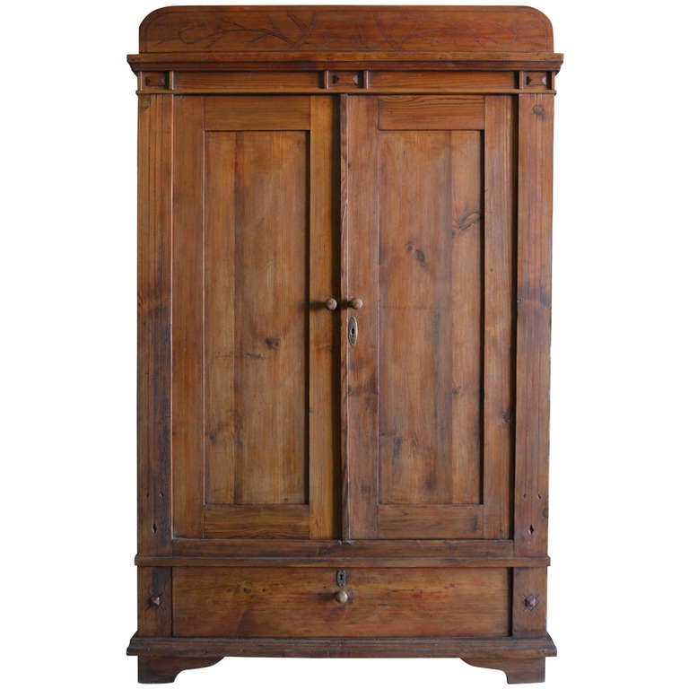 art nouveau armoire with spacious drawer for sale at 1stdibs. Black Bedroom Furniture Sets. Home Design Ideas