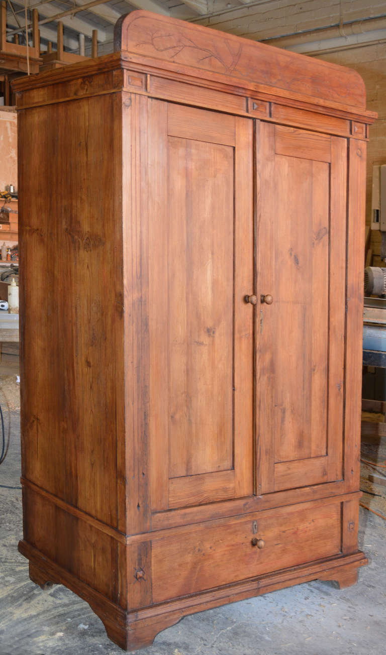 Art Nouveau Armoire with Spacious Drawer In Good Condition In Los Angeles, CA