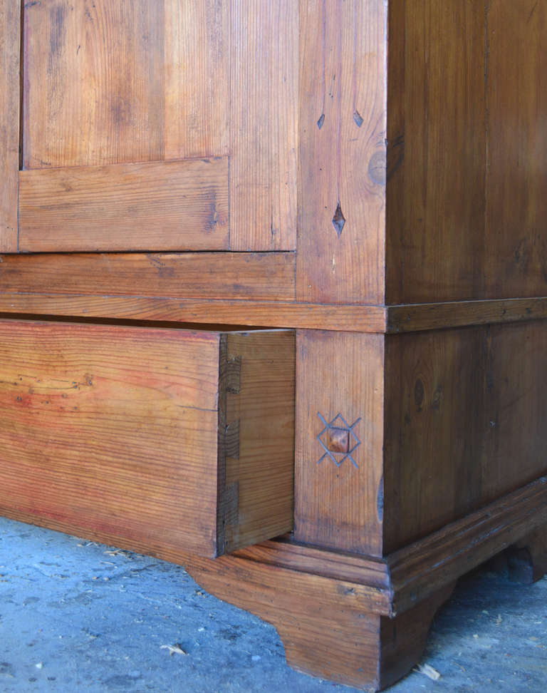 Pine Art Nouveau Armoire with Spacious Drawer