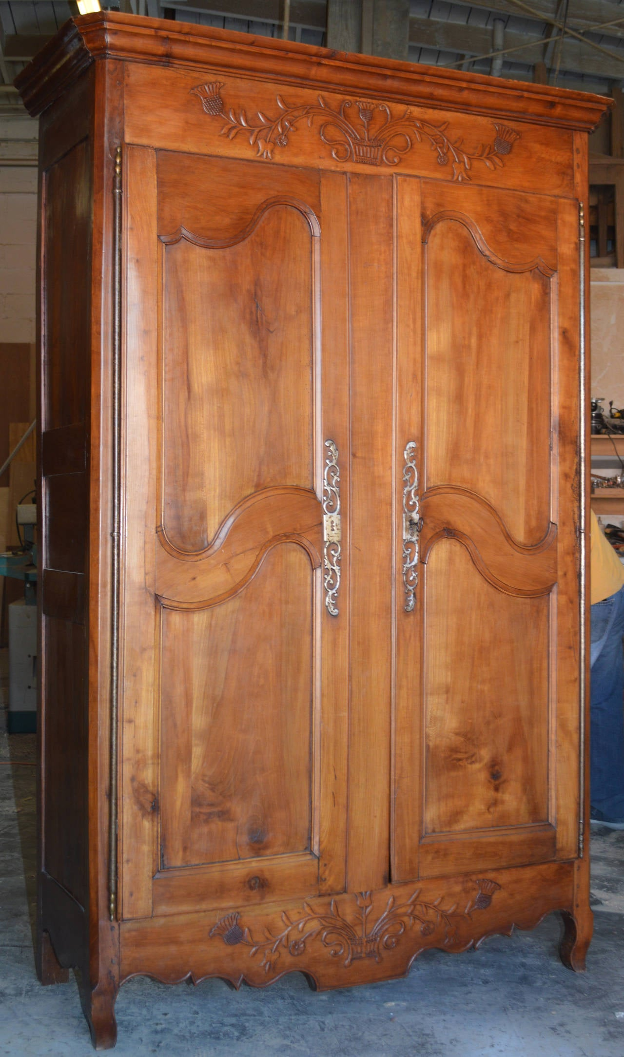 louis xv period armoire in cherrywood for sale at 1stdibs. Black Bedroom Furniture Sets. Home Design Ideas