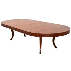 Expanding Dining Table of Midcentury Design with Biedermeier Allure in Walnut