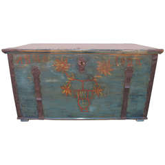 Painted Hope Chest with Original Paint, circa 1824