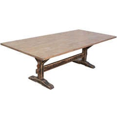 Oak Trestle Table with Painted Base