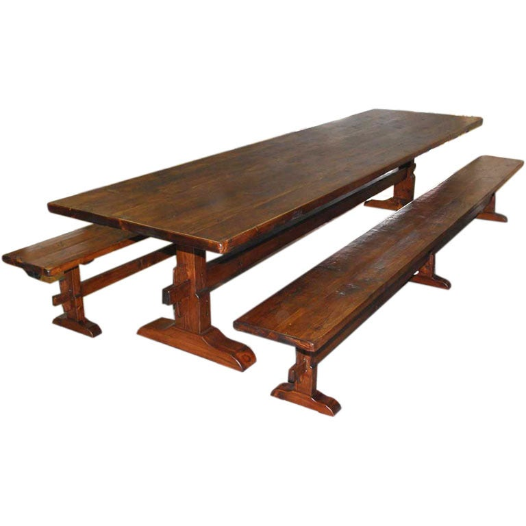 Trestle Table/Benches in Reclaimed Pine, Custom Made by Petersen Antiques For Sale