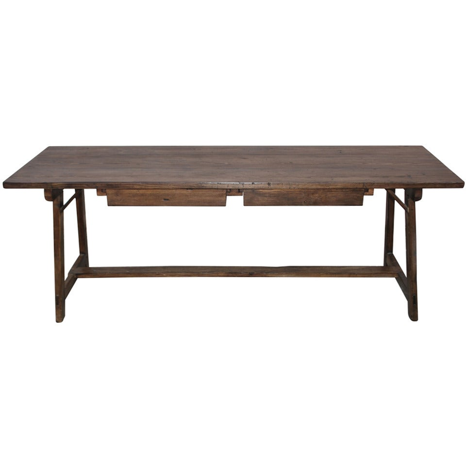 Fir Work Table with Two Drawers, Custom Made by Petersen Antiques