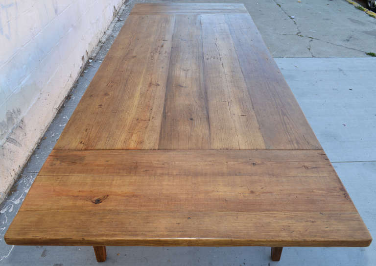 Expandable Harvest Table in Vintage Heart Pine, Custom Made by Petersen Antiques For Sale 2