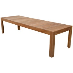 Expandable Outdoor Dining Table in Teak, Custom Made by Petersen Antiques