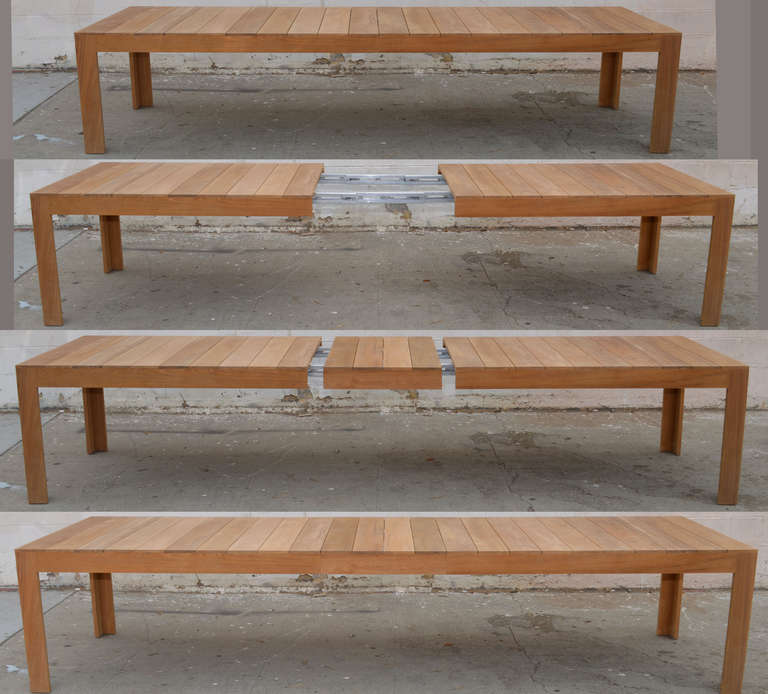 Custom outdoor dining table in teak expandable for sale for 144 dining table
