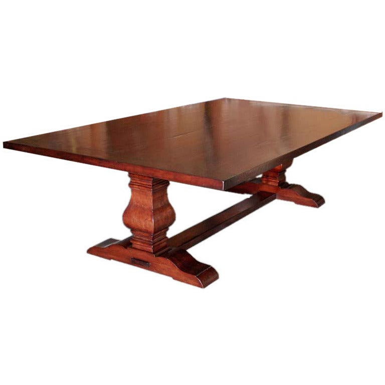 Dining Table Or Trestle Table In Distressed Cherrywood For Sale At 1stdibs