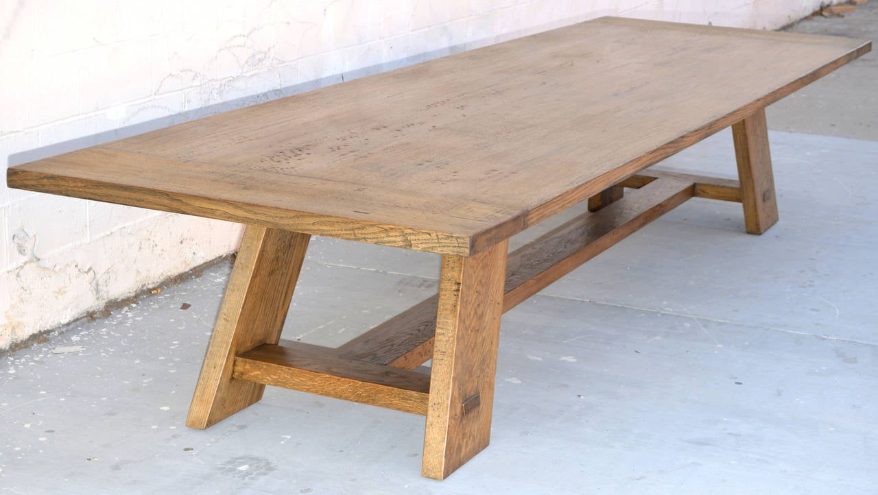custom banquet table in vintage white oak for sale at 1stdibs. Black Bedroom Furniture Sets. Home Design Ideas