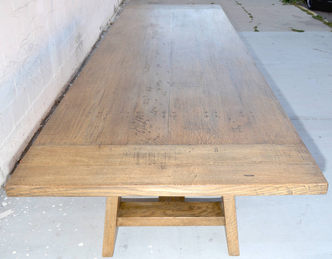 American Custom Banquet Table in Vintage White Oak, Made to Order by Petersen Antiques For Sale