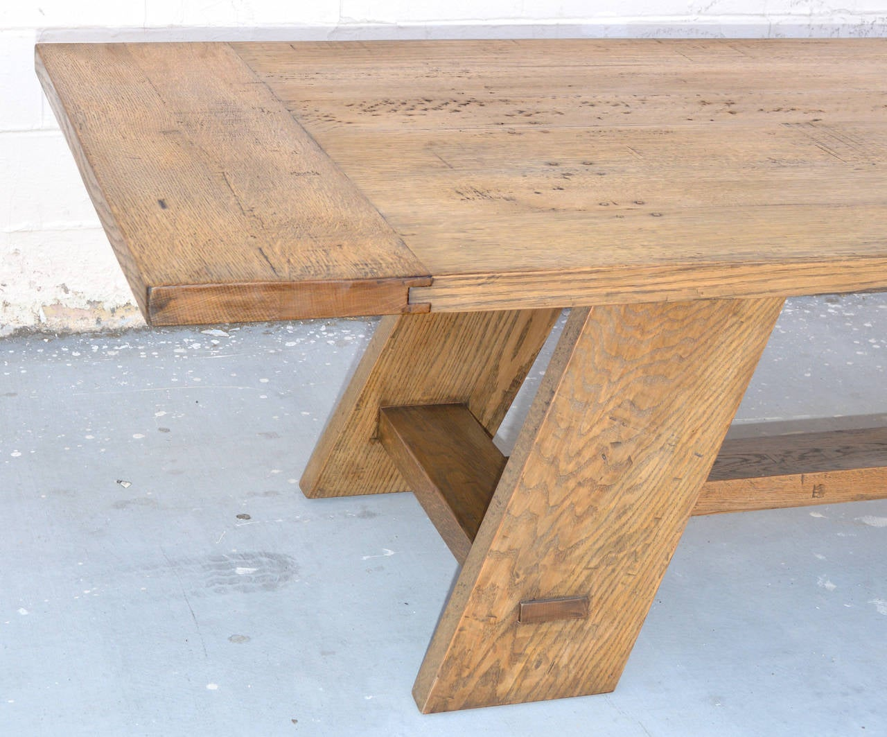 Lacquered Custom Banquet Table in Vintage White Oak, Made to Order by Petersen Antiques For Sale