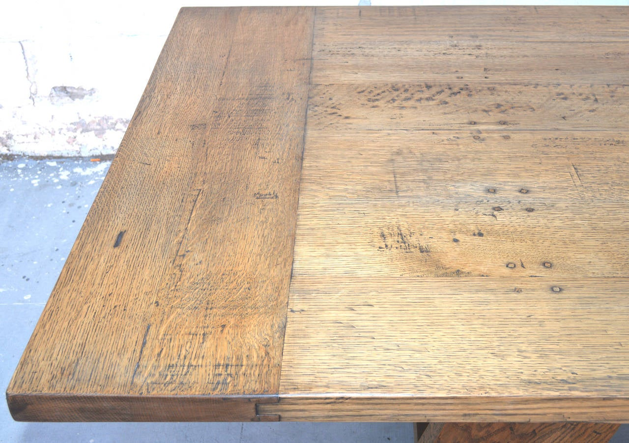 Custom Banquet Table in Vintage White Oak, Made to Order by Petersen Antiques For Sale 1