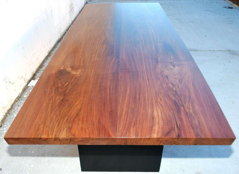 American Dining Table in Solid Bookmatched Walnut, Custom Made by Petersen Antiques For Sale
