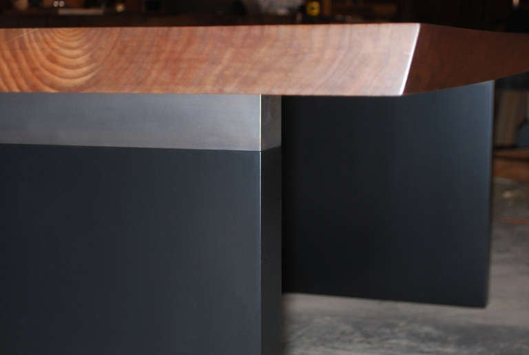 Dining Table in Solid Bookmatched Walnut, Custom Made by Petersen Antiques In Excellent Condition For Sale In Los Angeles, CA