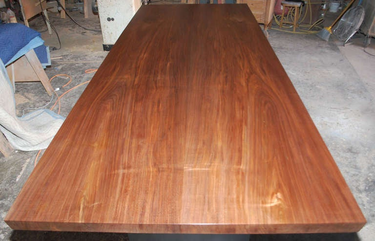 Brass Dining Table in Solid Bookmatched Walnut, Custom Made by Petersen Antiques For Sale