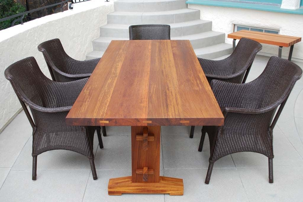 indoor or outdoor dining table in solid teak can be