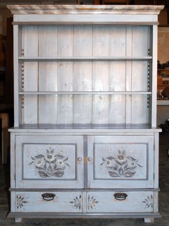 "Folk Art painted step back hutch with adjustable shelves, two drawers and two doors. Could be used to hold a flat screen TV that is less than 49"" from side to side (50"" diagonal should fit nicely)."