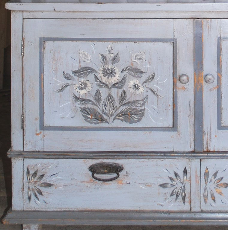 Pine Baltic Buffet or Hutch Painted Gustavian Gray For Sale