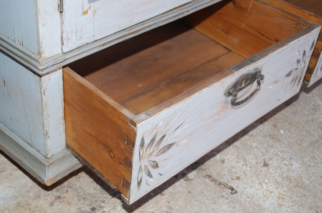 Baltic Buffet or Hutch Painted Gustavian Gray For Sale 2