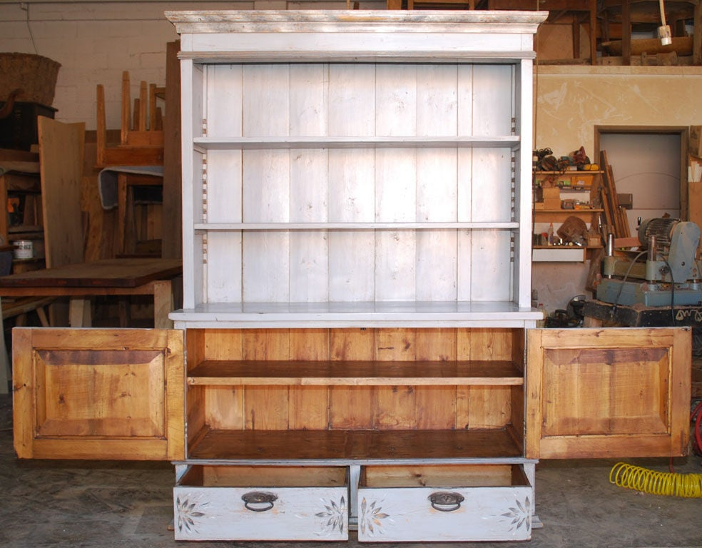 Baltic Buffet or Hutch Painted Gustavian Gray For Sale 3