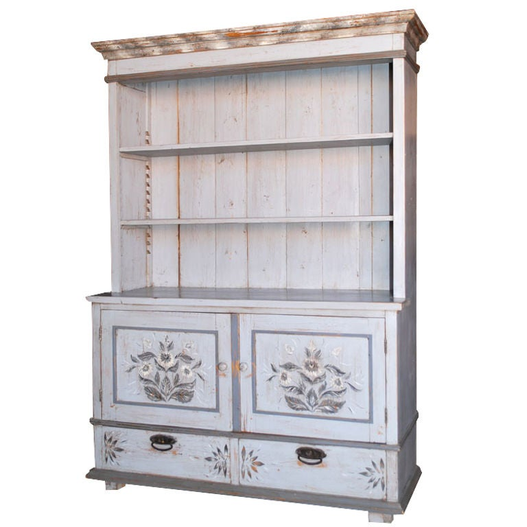 Baltic Buffet or Hutch Painted Gustavian Gray For Sale