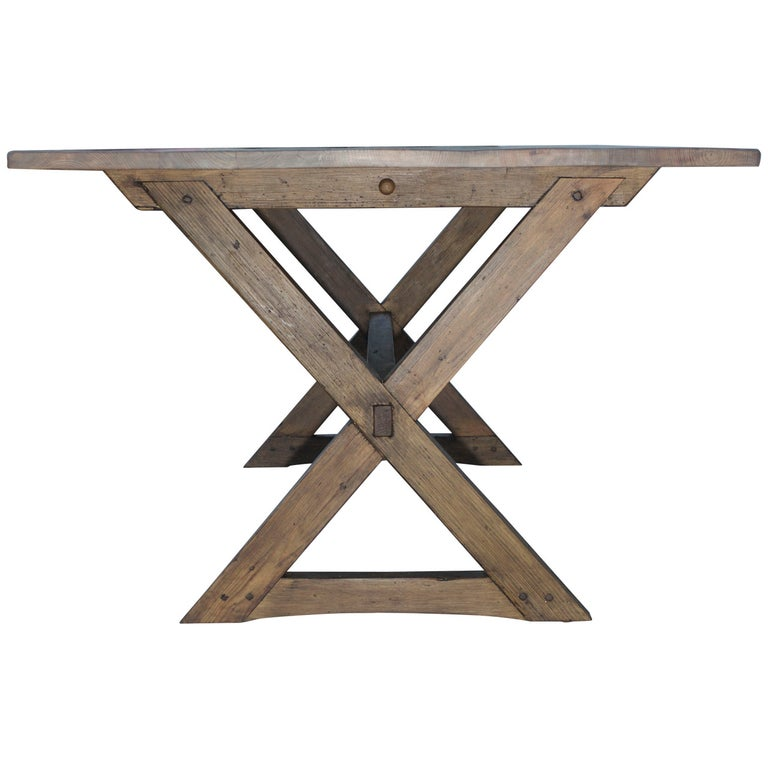 Trestle Table in Vintage Pine, Custom Made by Petersen Antiques For Sale