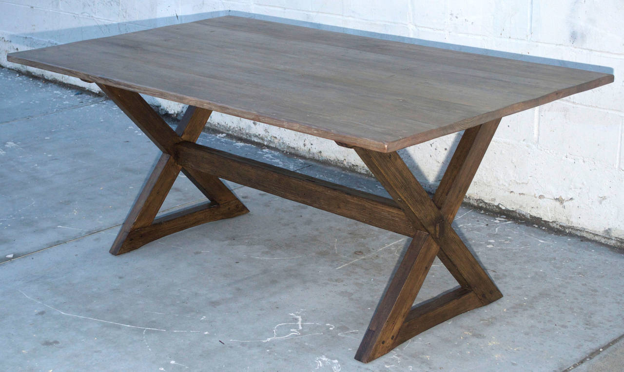 Country Trestle Table in Vintage Pine, Custom Made by Petersen Antiques For Sale