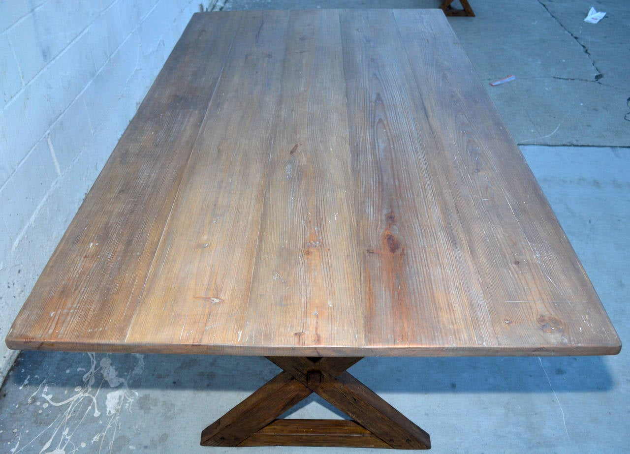North American Trestle Table in Vintage Pine, Custom Made by Petersen Antiques For Sale