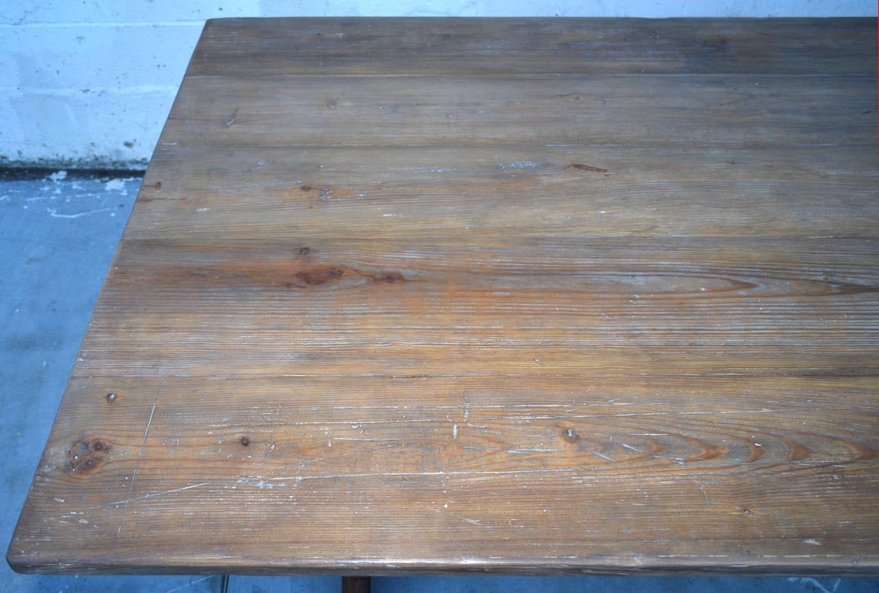 Trestle Table in Vintage Pine, Custom Made by Petersen Antiques In Excellent Condition For Sale In Los Angeles, CA