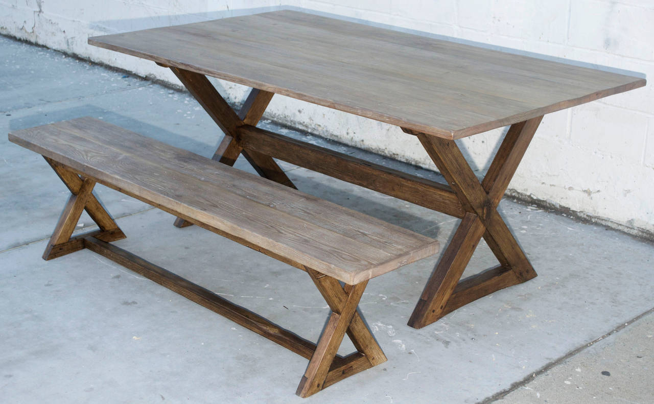 Reclaimed Wood Trestle Table in Vintage Pine, Custom Made by Petersen Antiques For Sale