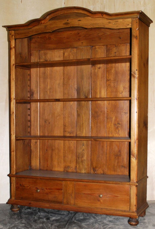 Antique Bookcase With Adjustable Shelves And Two Large Drawers At 1stdibs