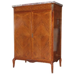 Cabinet with Inlaid Wood and  Diamond Matched Panels