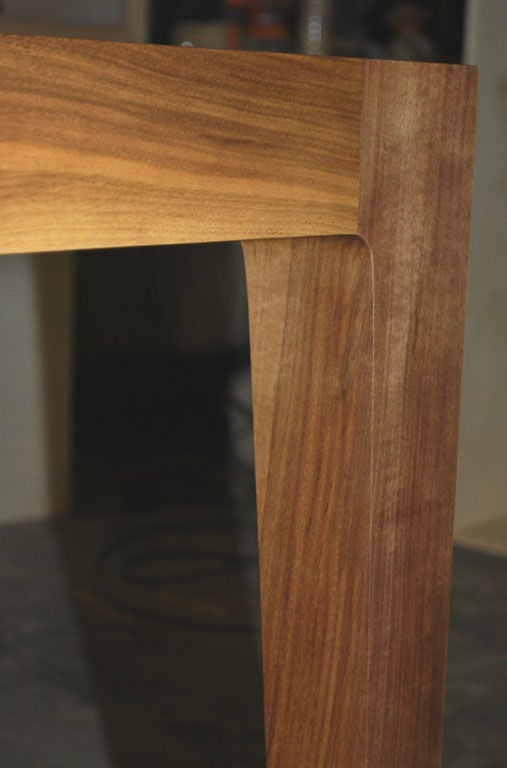 Parsons Table in Solid Bookmatched Walnut, Made to Order by Petersen Antiques For Sale 4